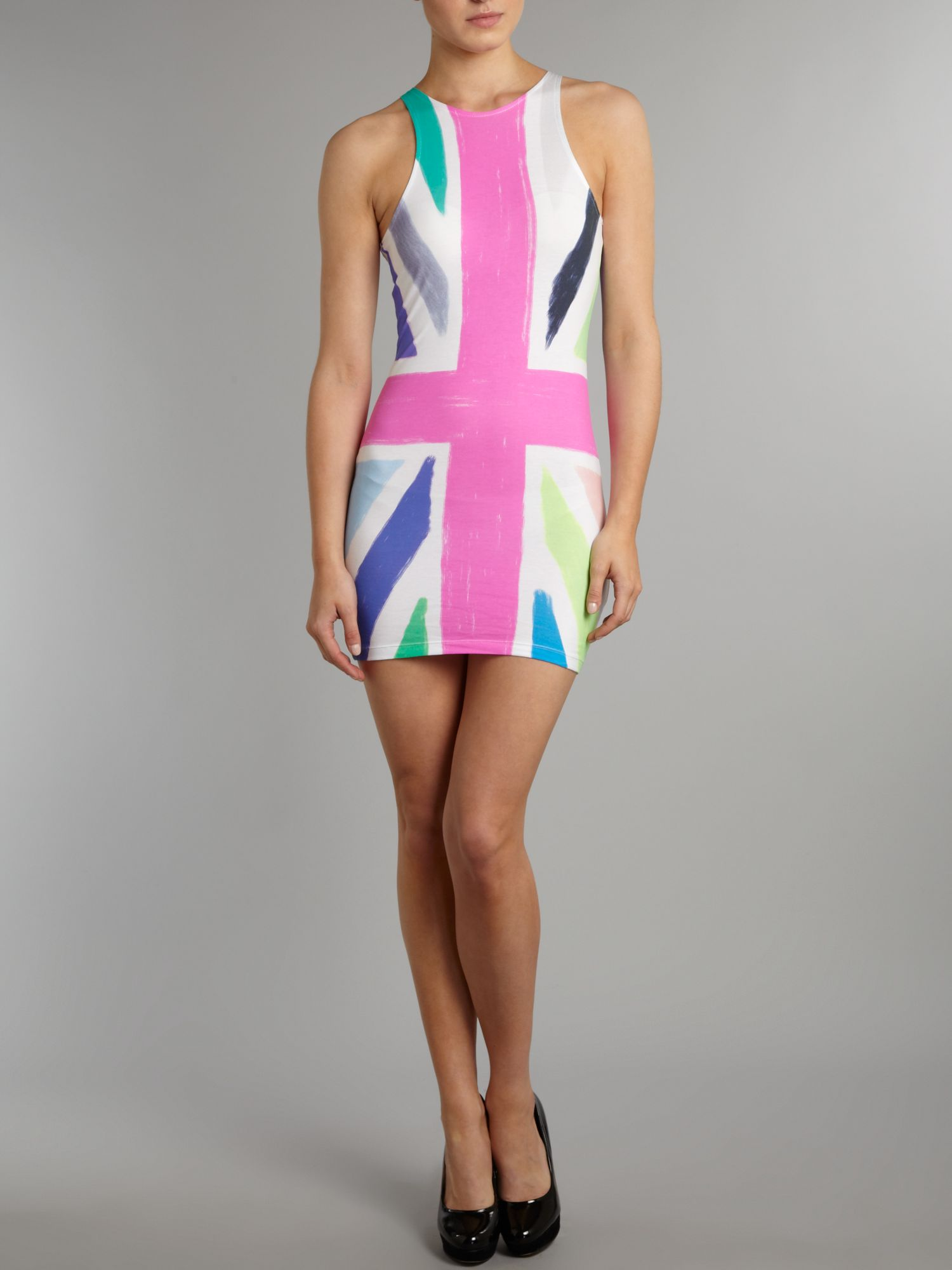 Sleeveless union jack print bodycon dress