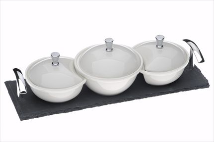 Set of 3 covered dishes on a slate base