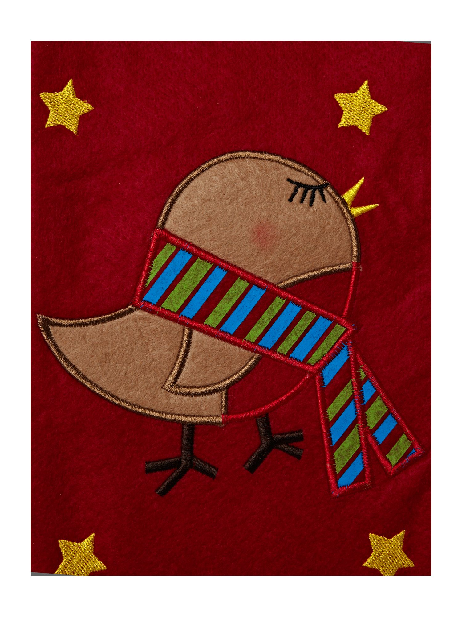 Frosty felt robin stocking