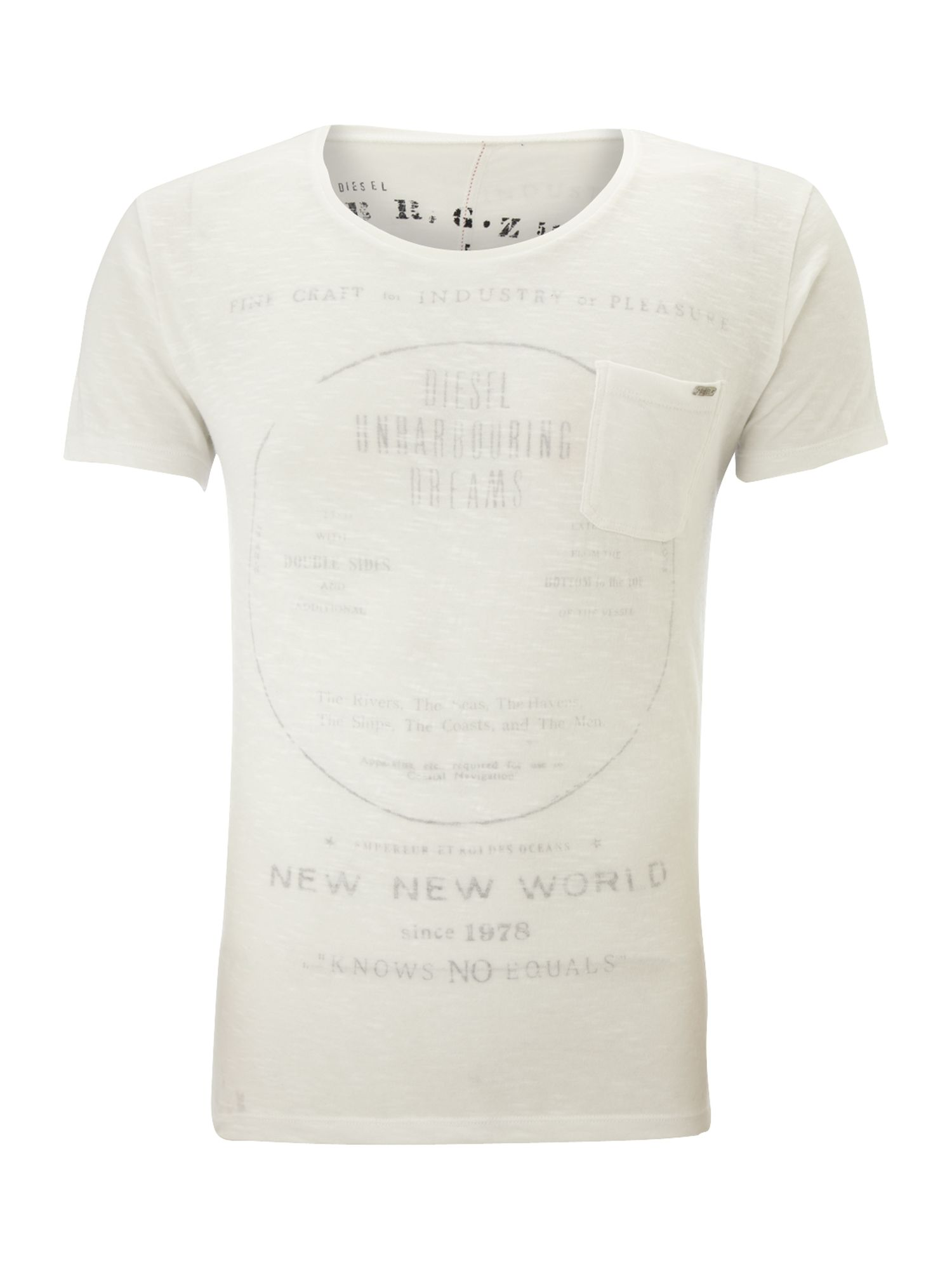 Diesel Mens Diesel Scoop neck printed t-shirt, product image