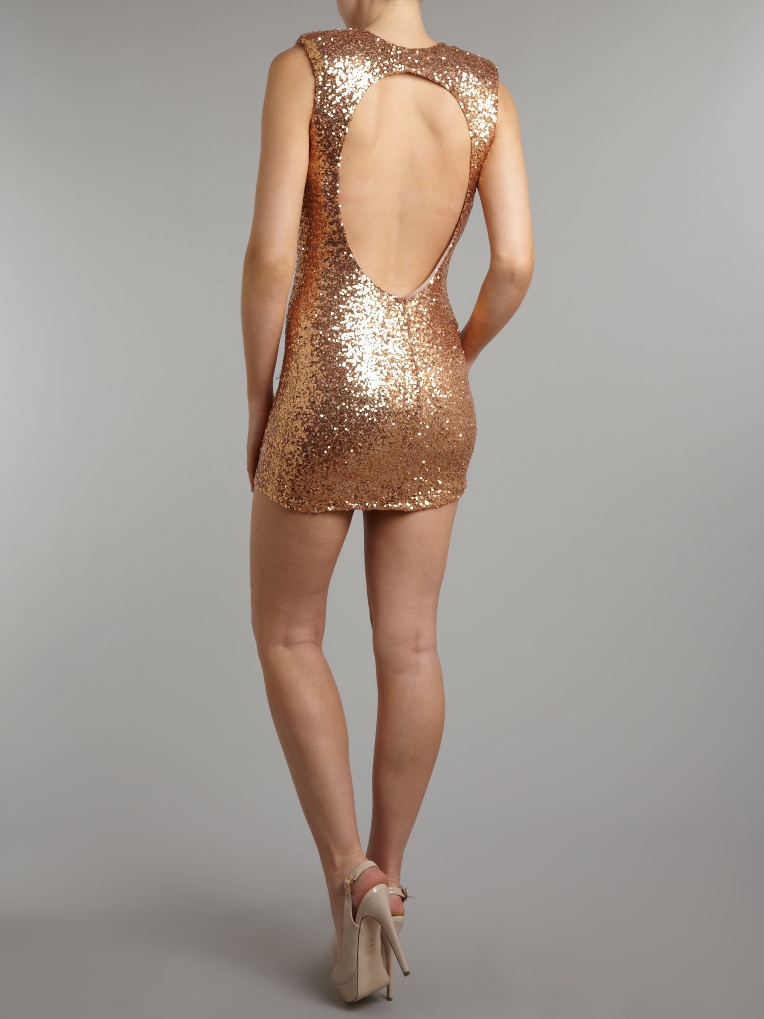 All over sequin cut out back dress