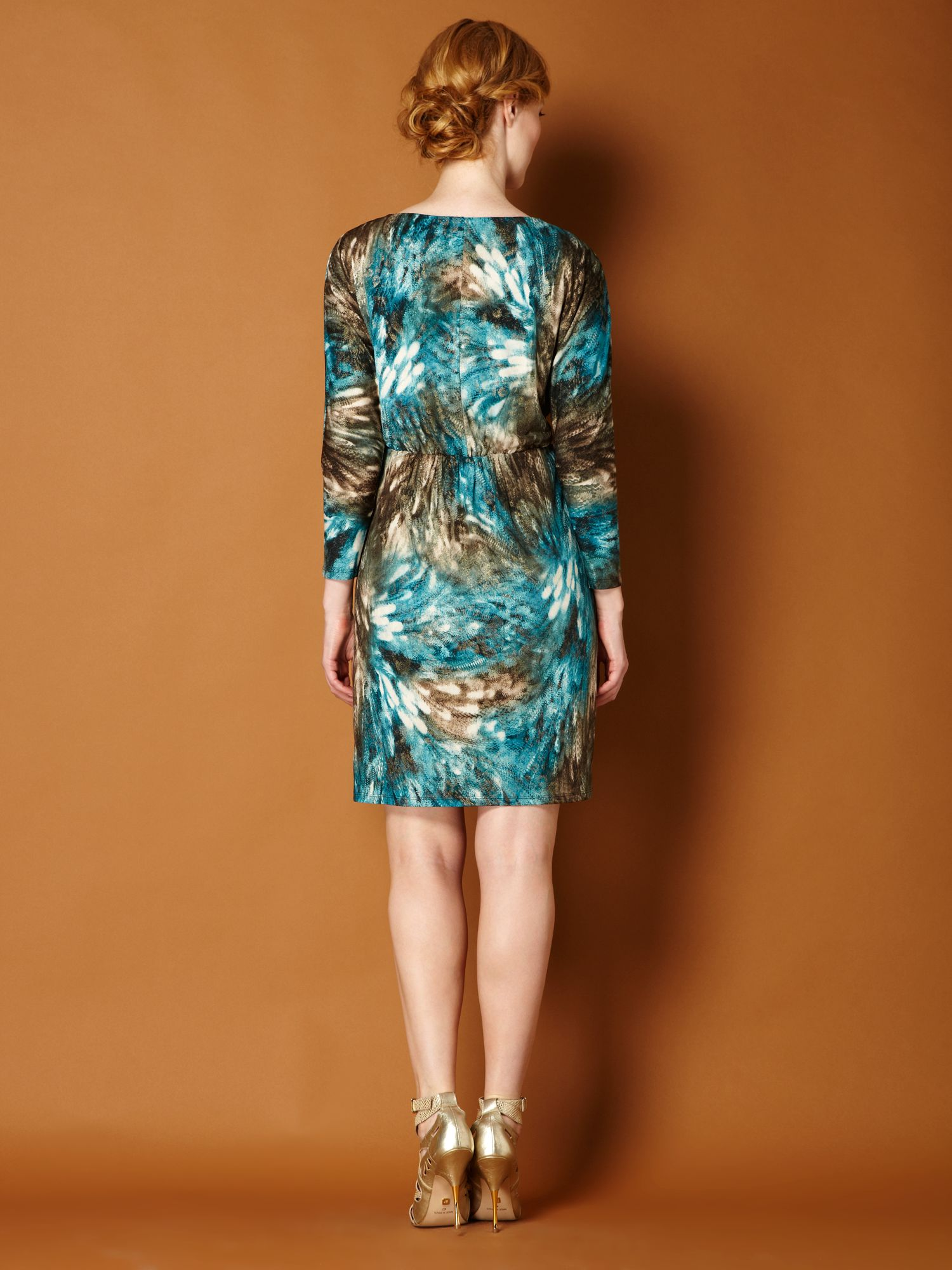 Metallic blurred animal jersey dress