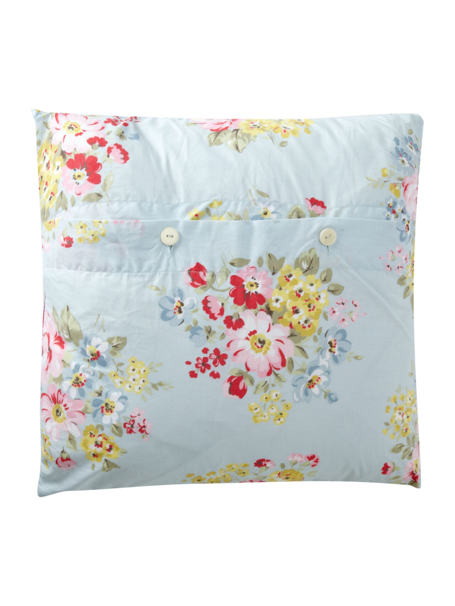 Spring bouquet square cushion blue