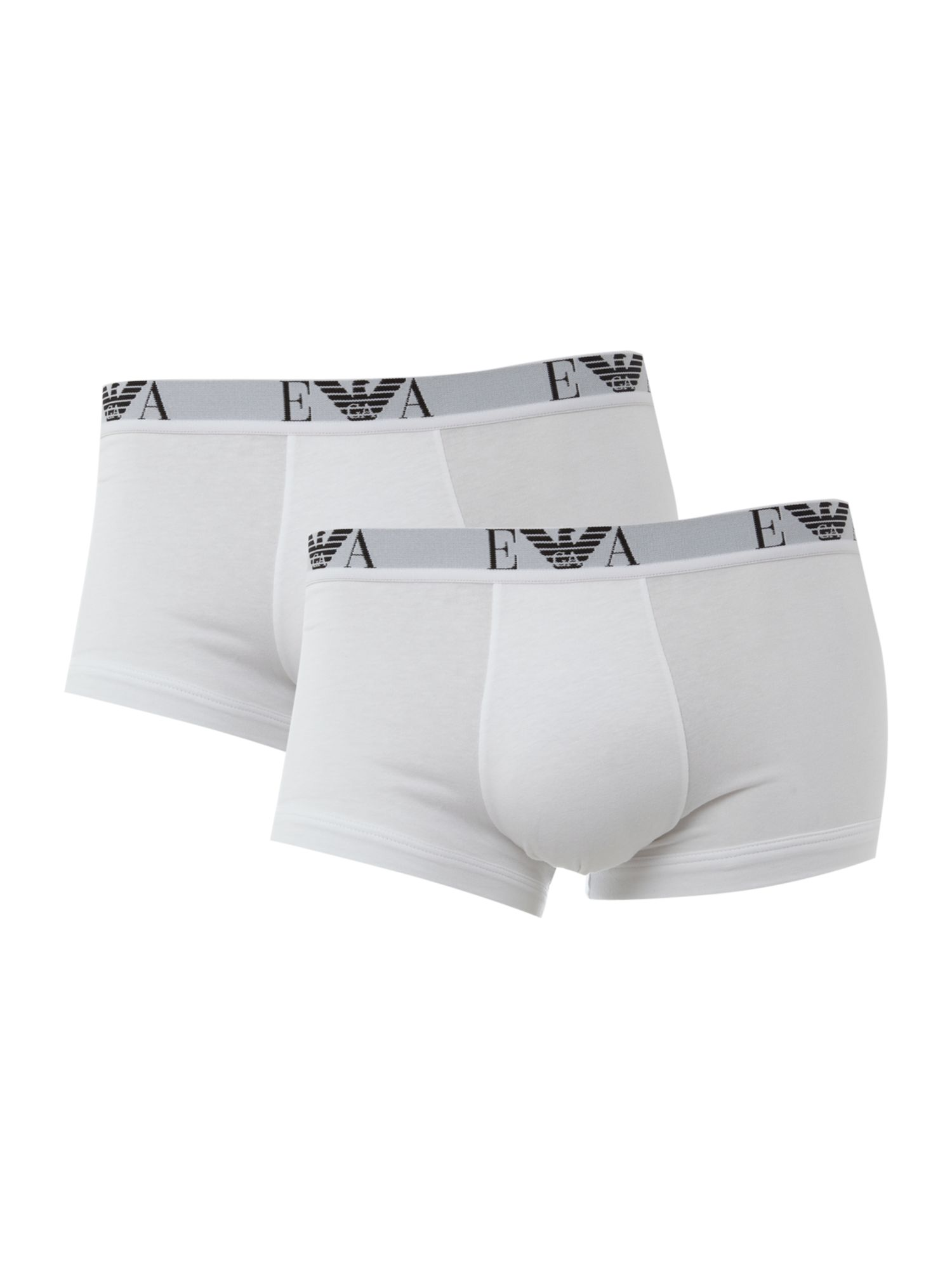 Mens Emporio Armani 2 pack underwear trunk White