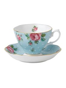 Royal Albert Polka blue teacup and saucer boxed