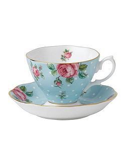 Polka blue teacup and saucer boxed