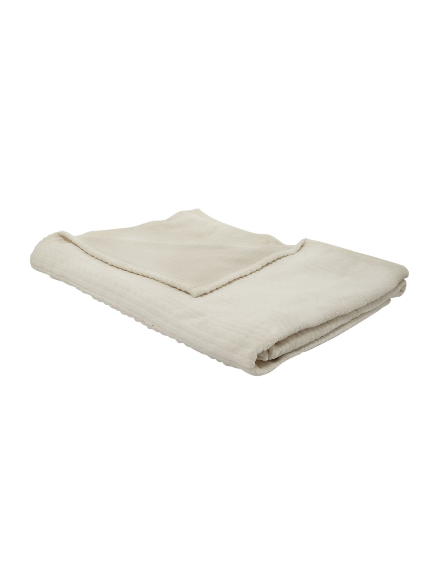 Textured fleece throw in cream