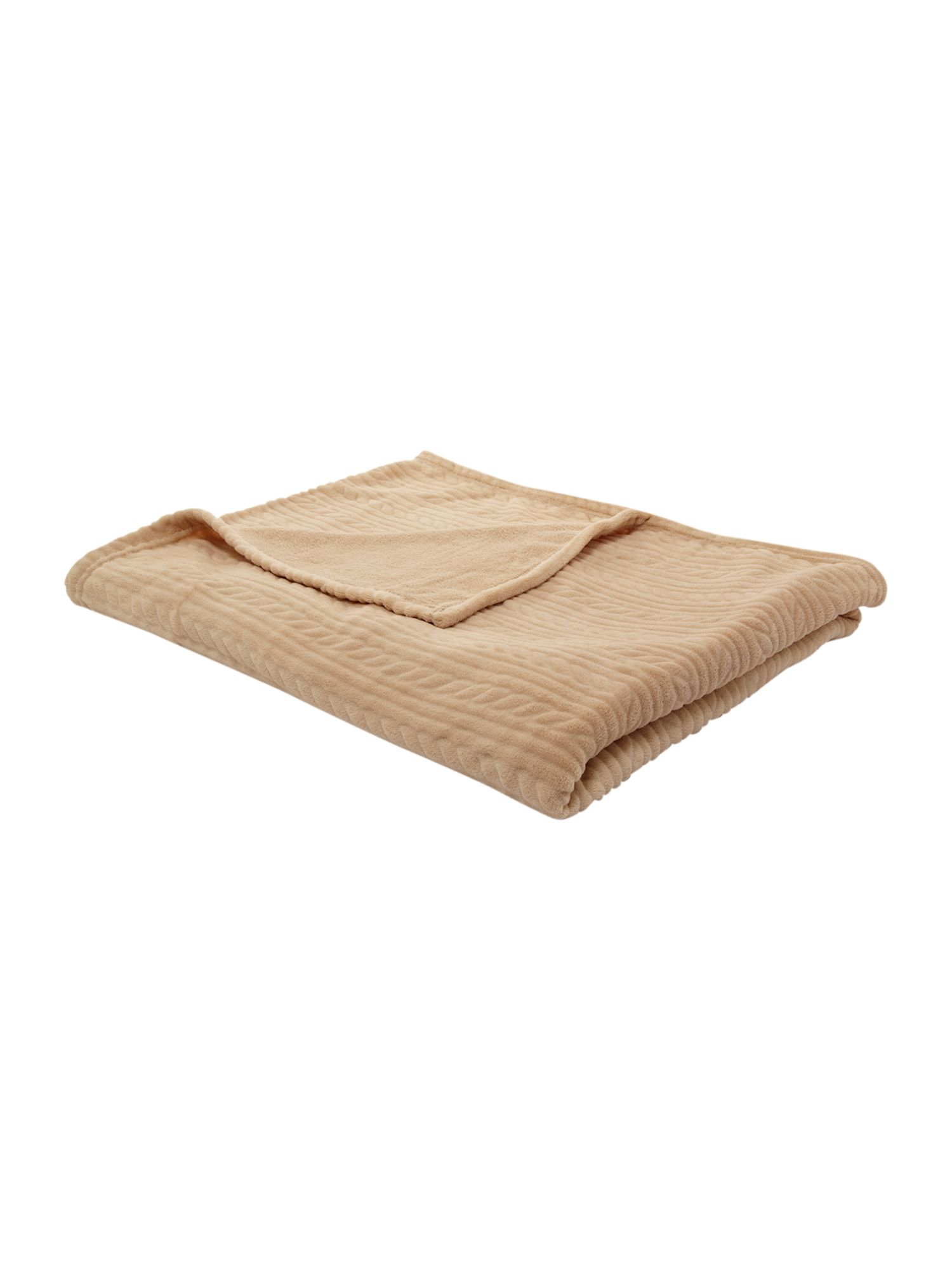 Textured fleece throw in natural