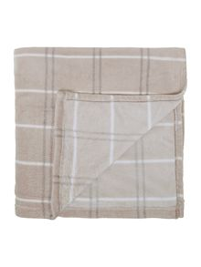 Printed check throw in mink