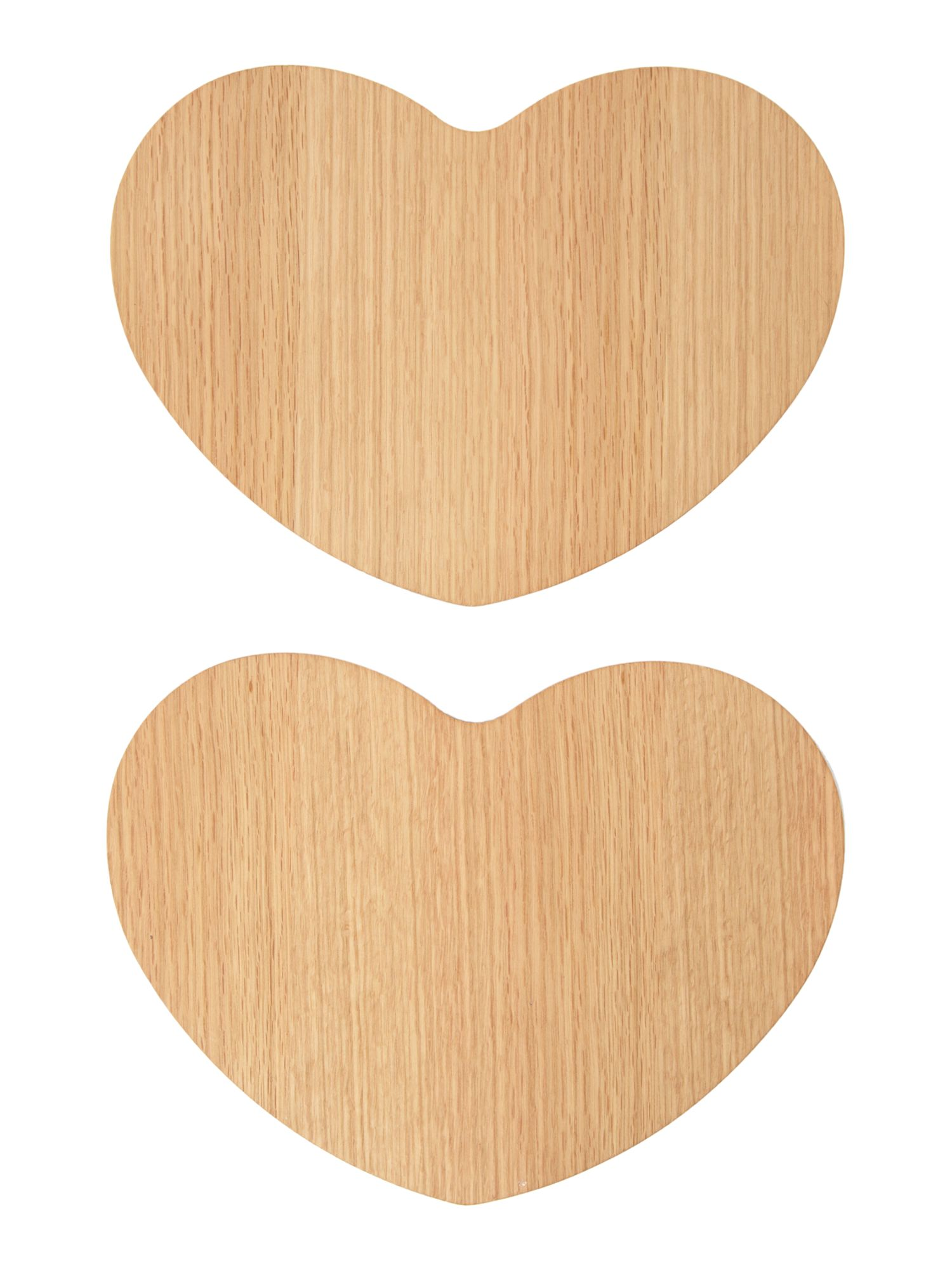 Scandi oak heart placemats set of 2
