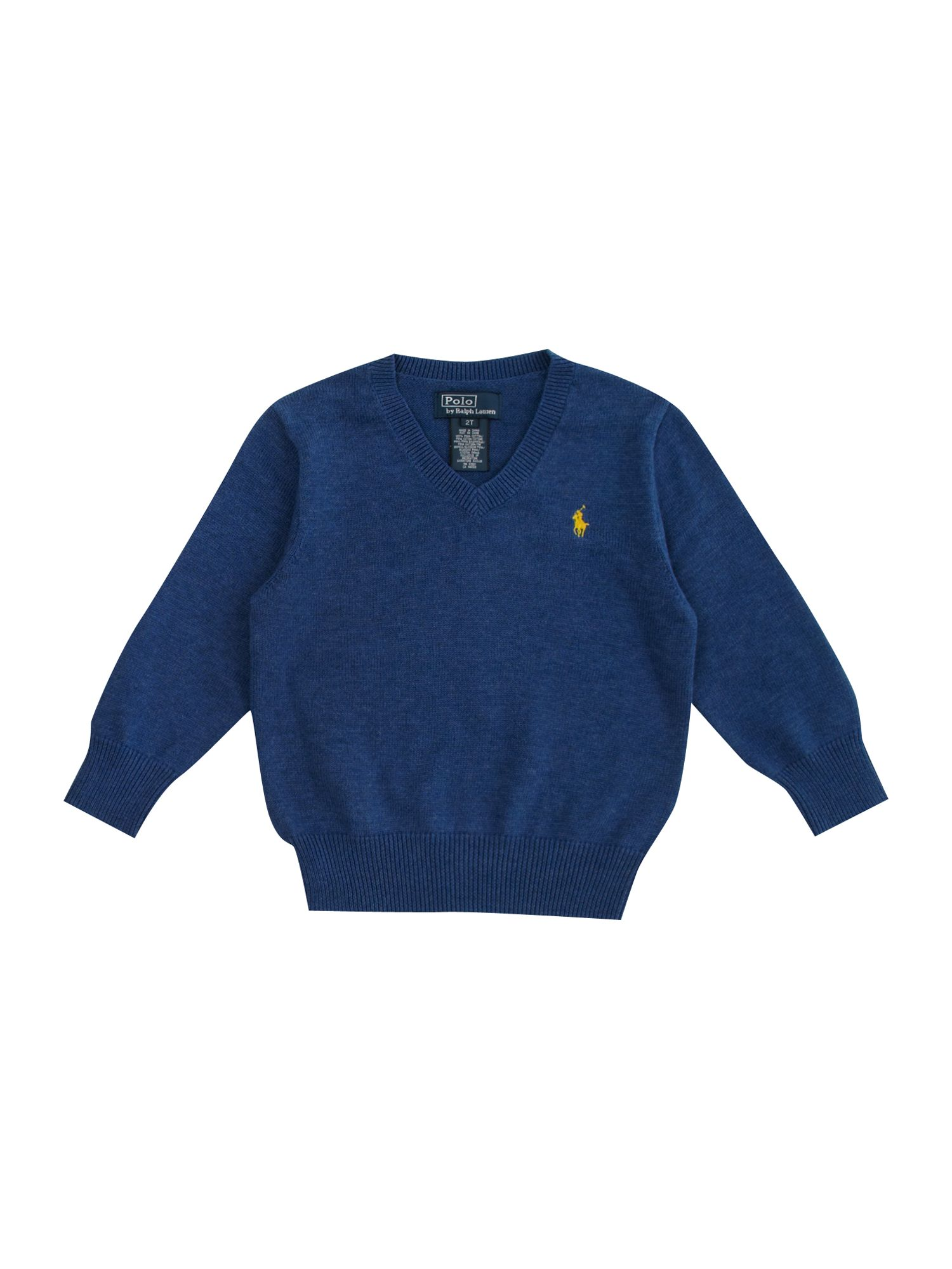 Boy`s long-sleeved pima cotton v-neck jumper