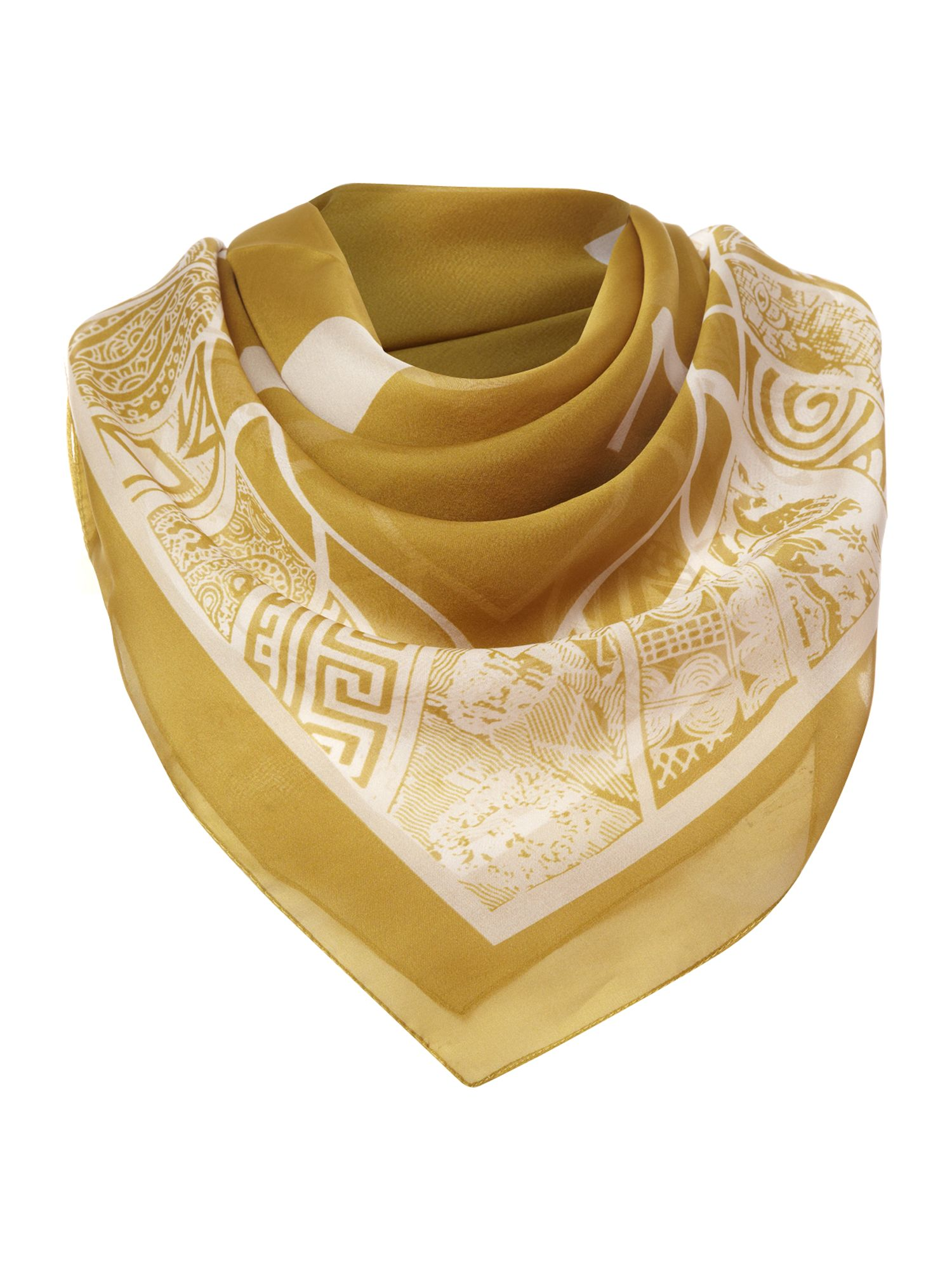 Clock face print square scarf