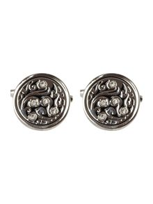 Circle crystal cufflinks