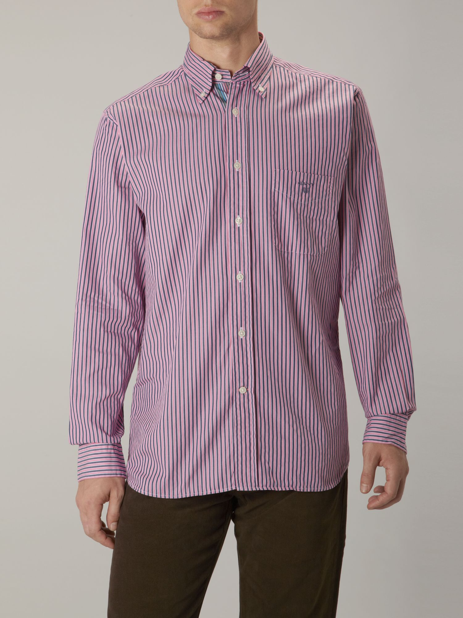 Long sleeve regular fit pink stripe shirt
