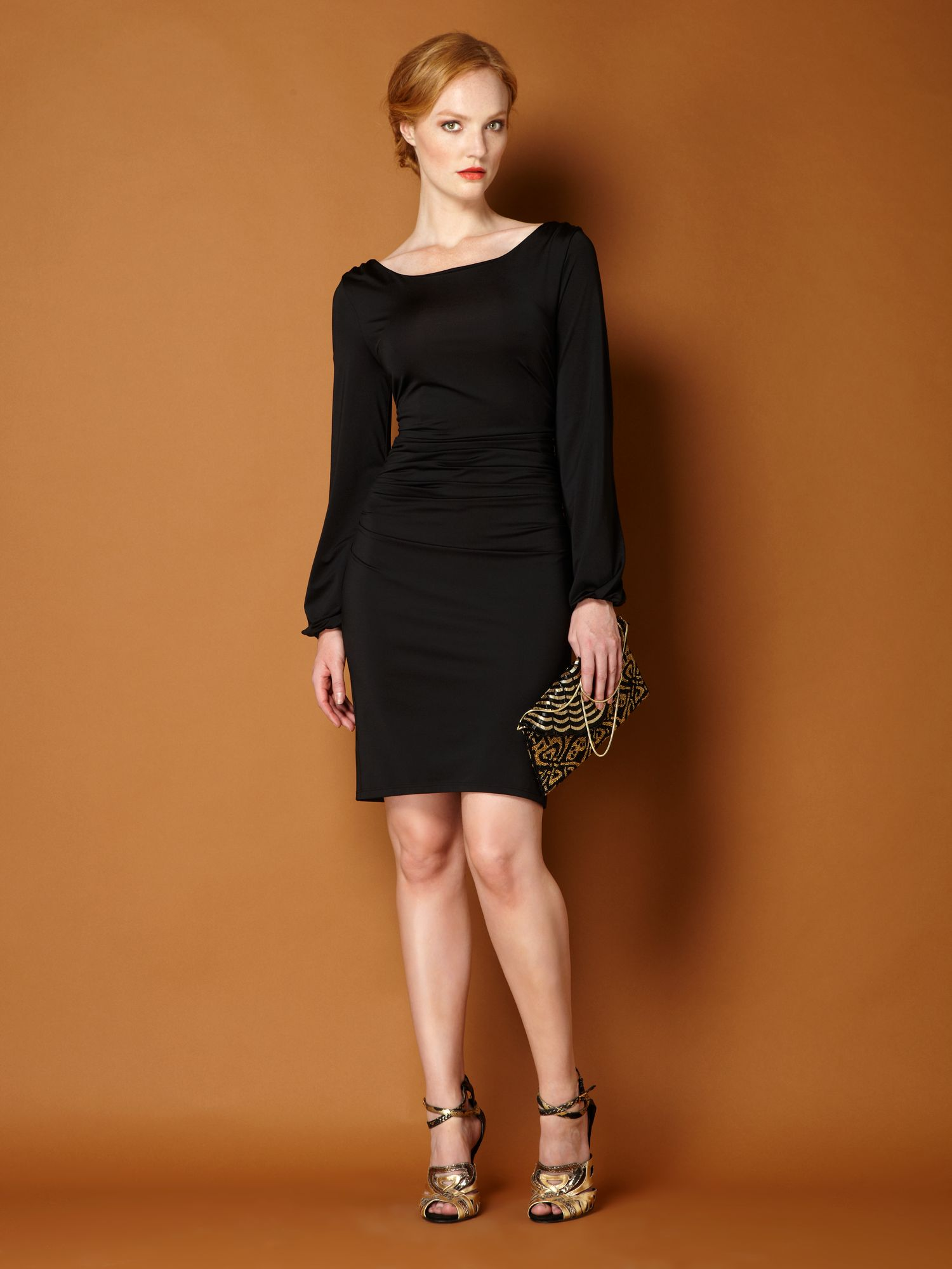 Ruched waist jersey dress