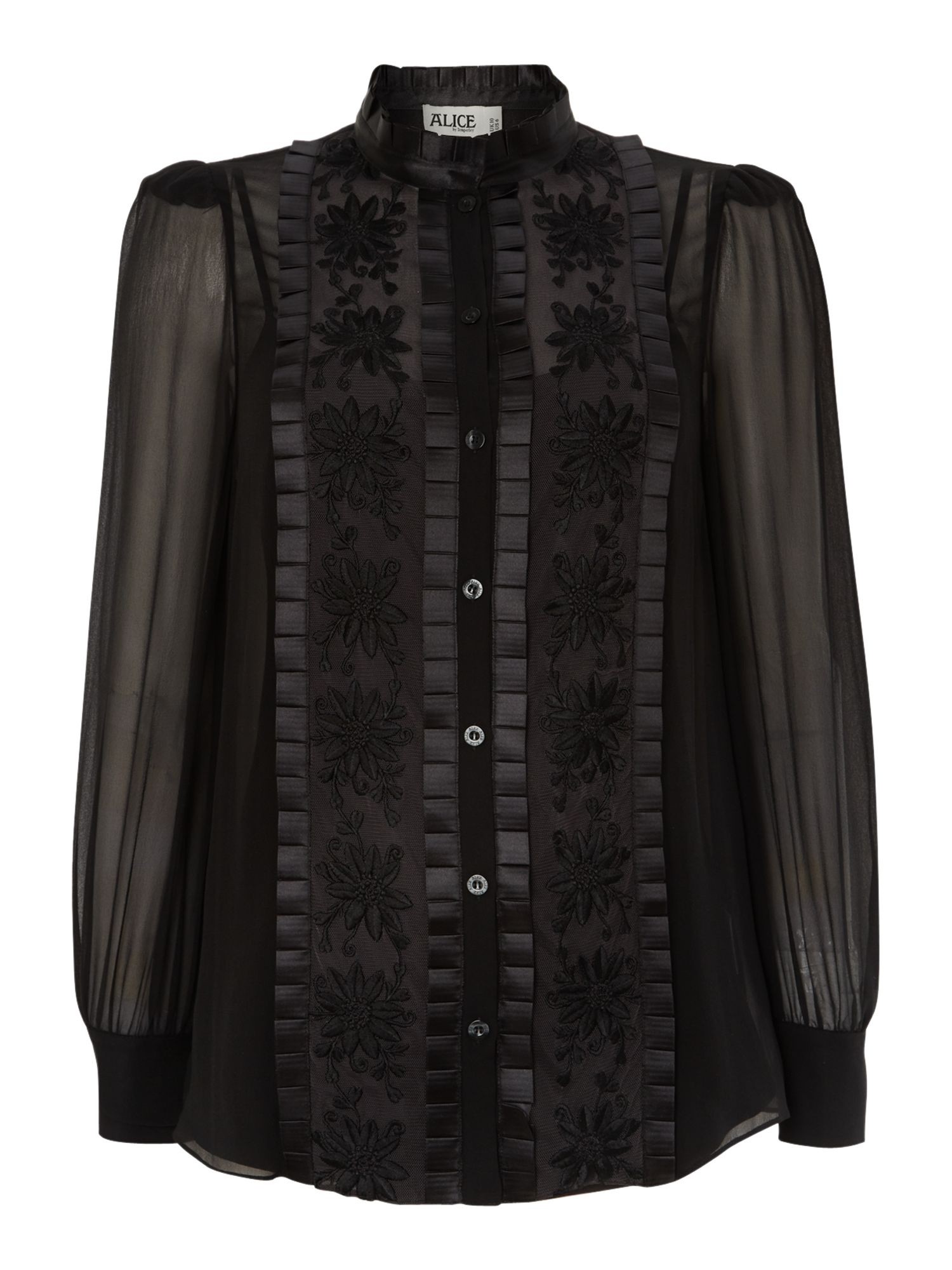 Long sleeve mesh blouse with brocade detail