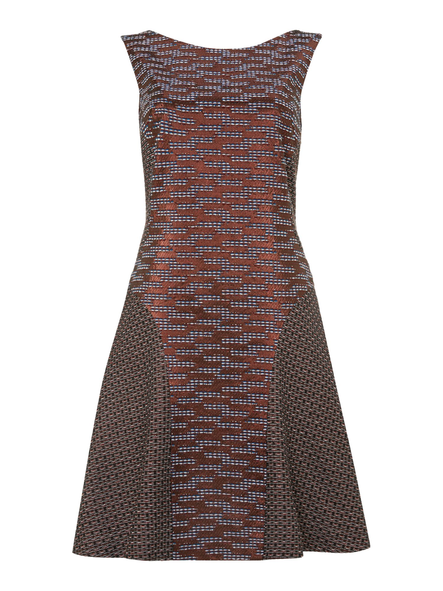 Sleeveless metallic print dress