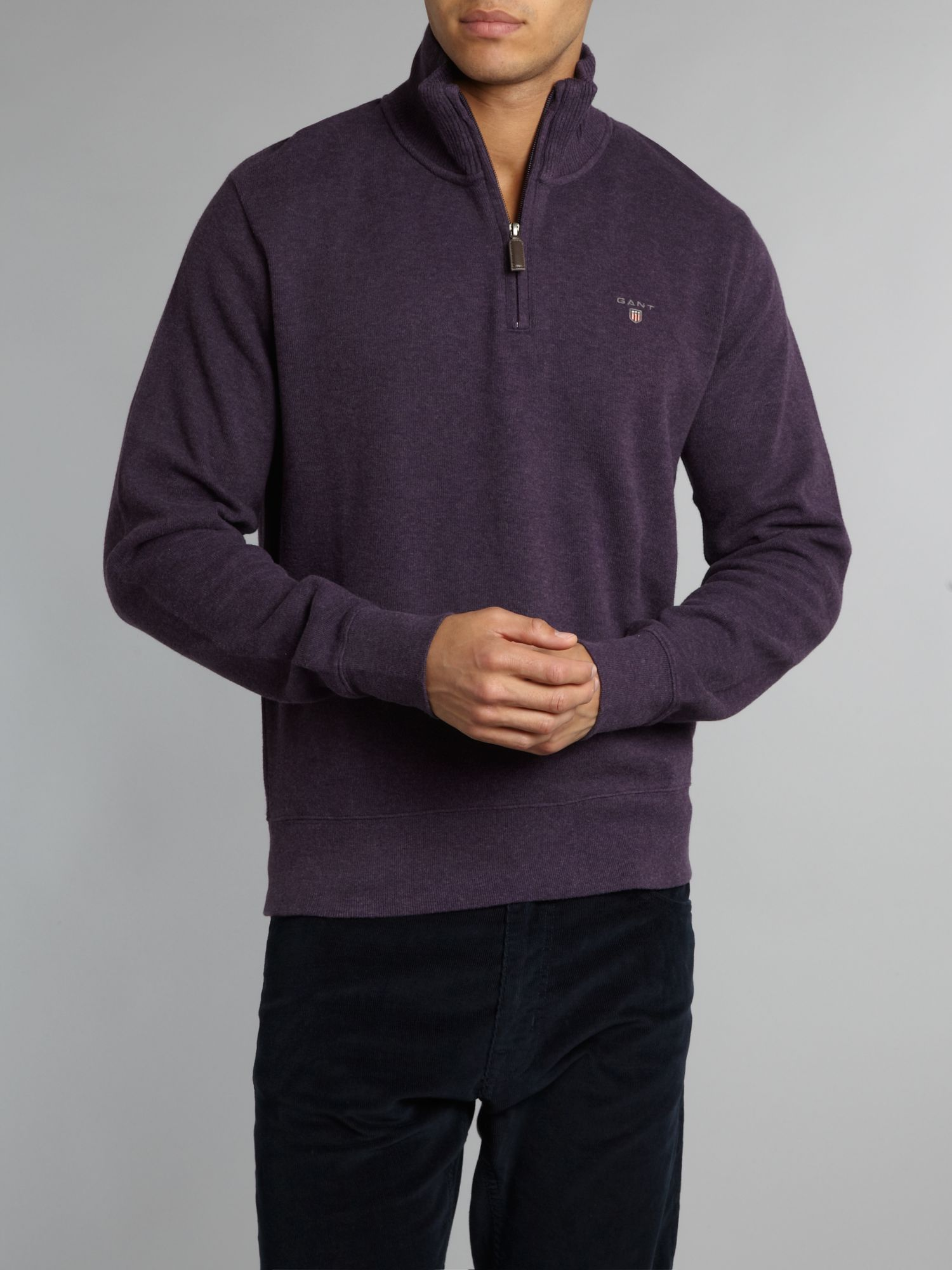 Sacker ribbed half zip sweatshirt
