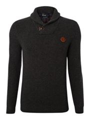 Fred Perry Herringbone shawl neck jumper