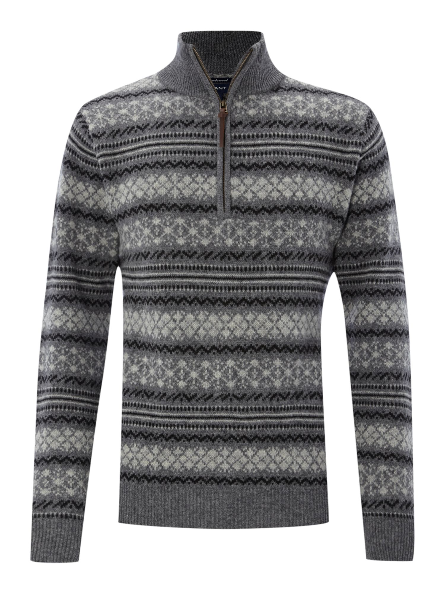 Half zip fairisle jumper