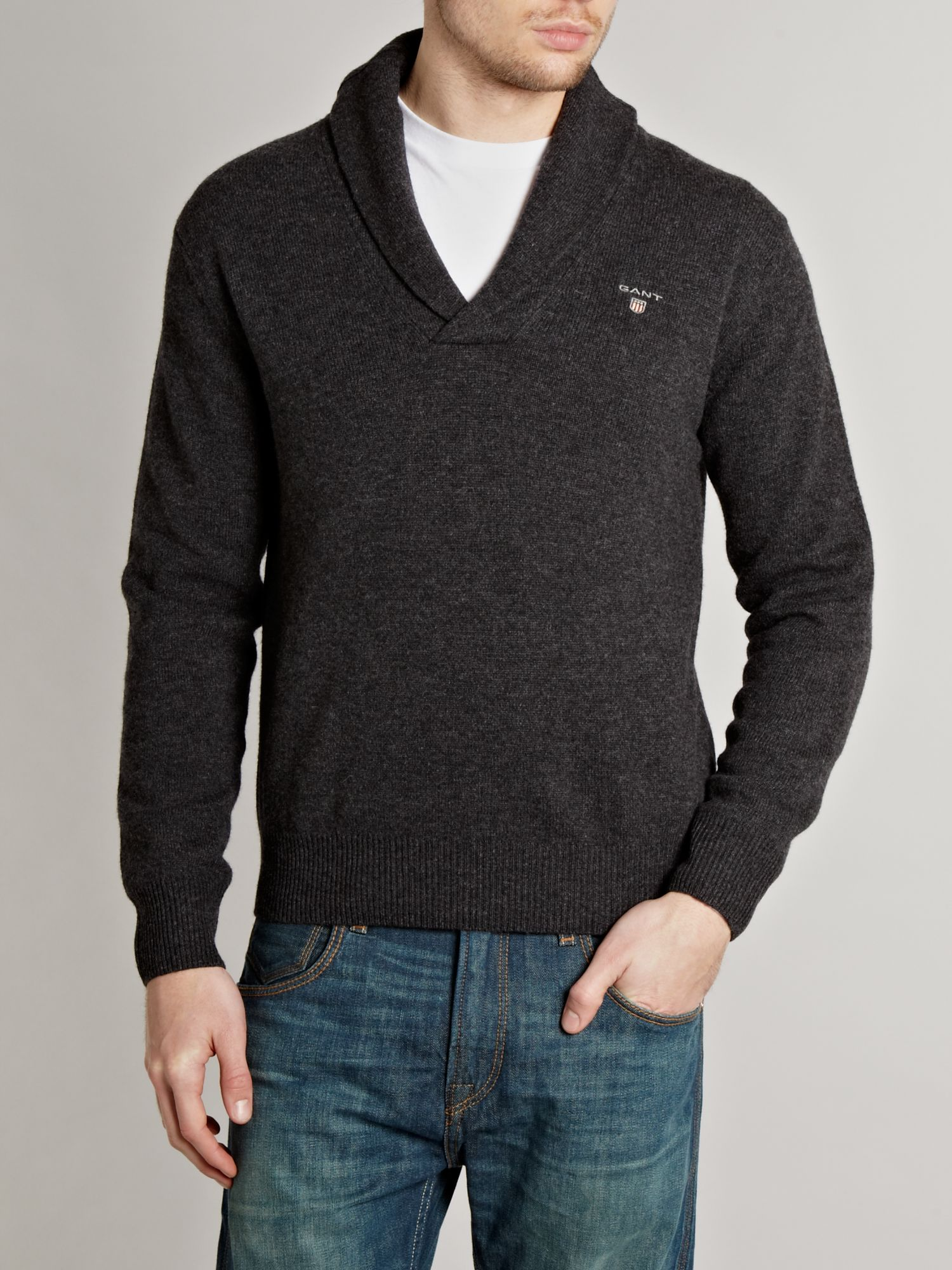Shawl neck lambswool jumper