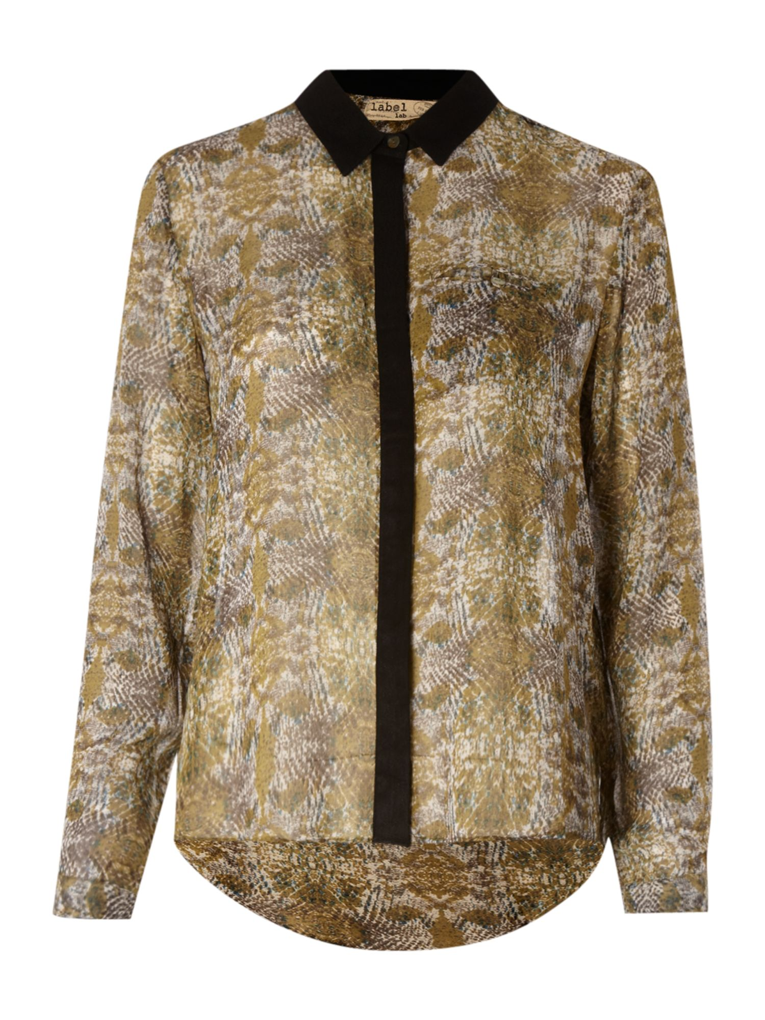 Label Lab High-low botton shirt, Snake Print