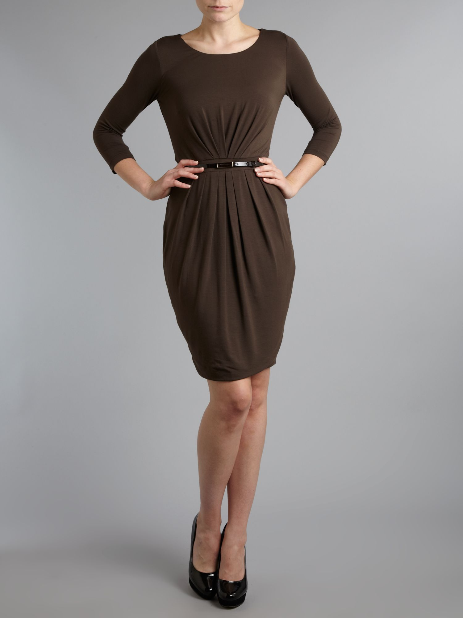 Agosto 3/4 sleeved belted dress