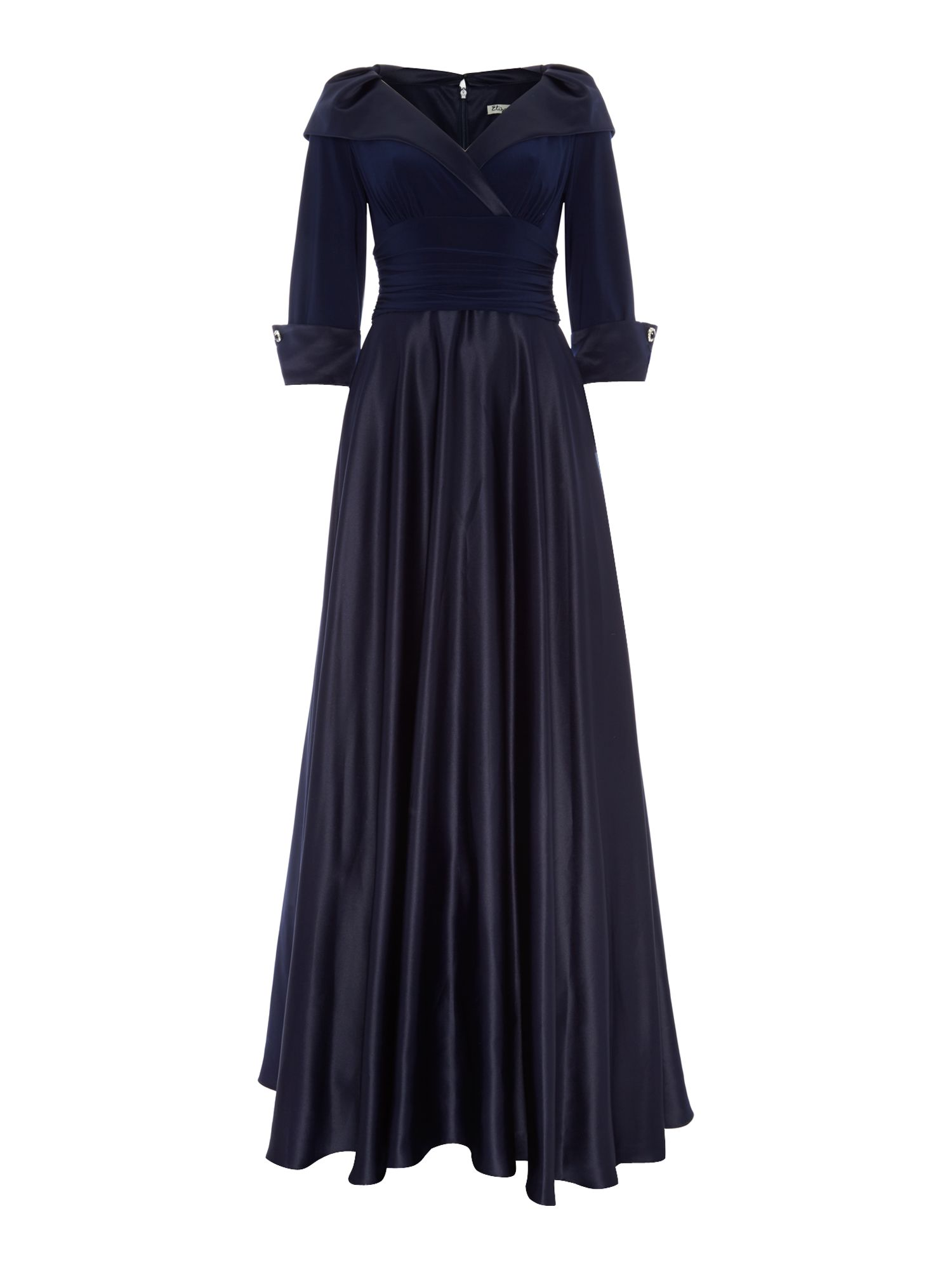 Portrait collar 3/4 sleeve maxi dress