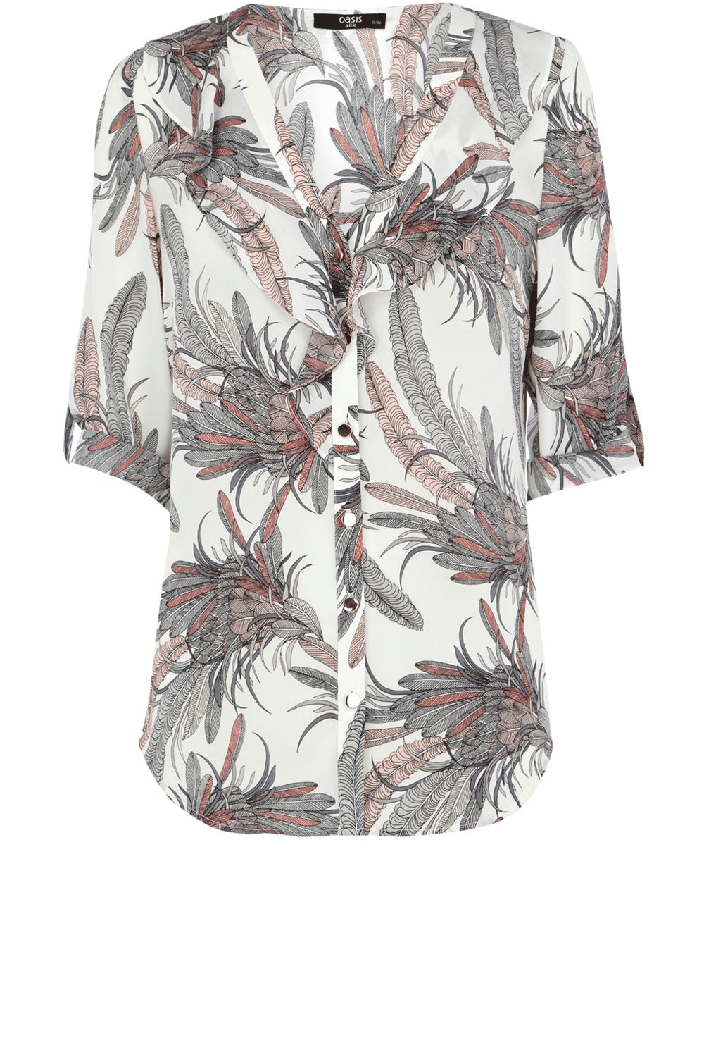 Oasis Womens Oasis Silk feather frill blouse, product image