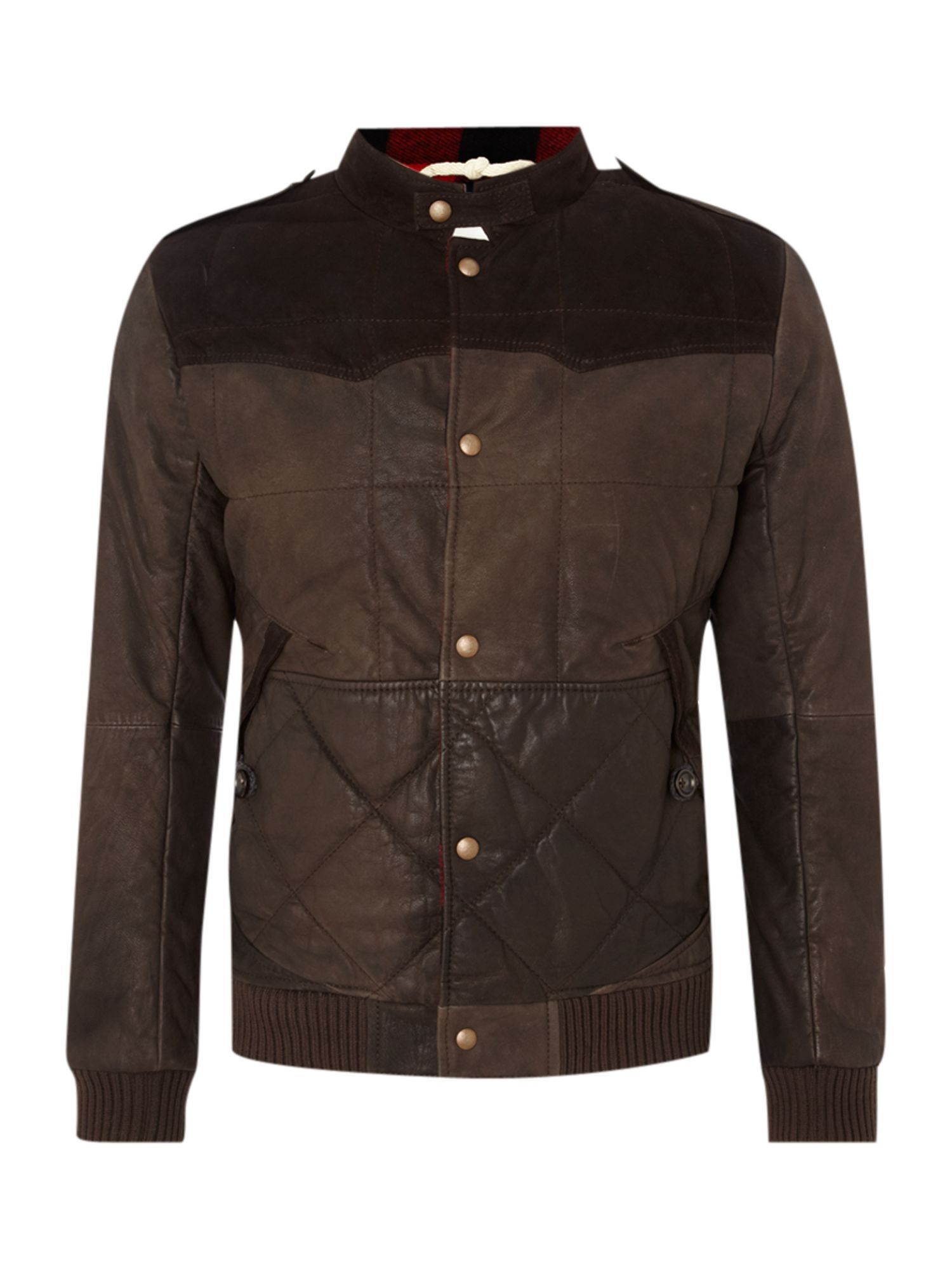 Leather western puffer jacket