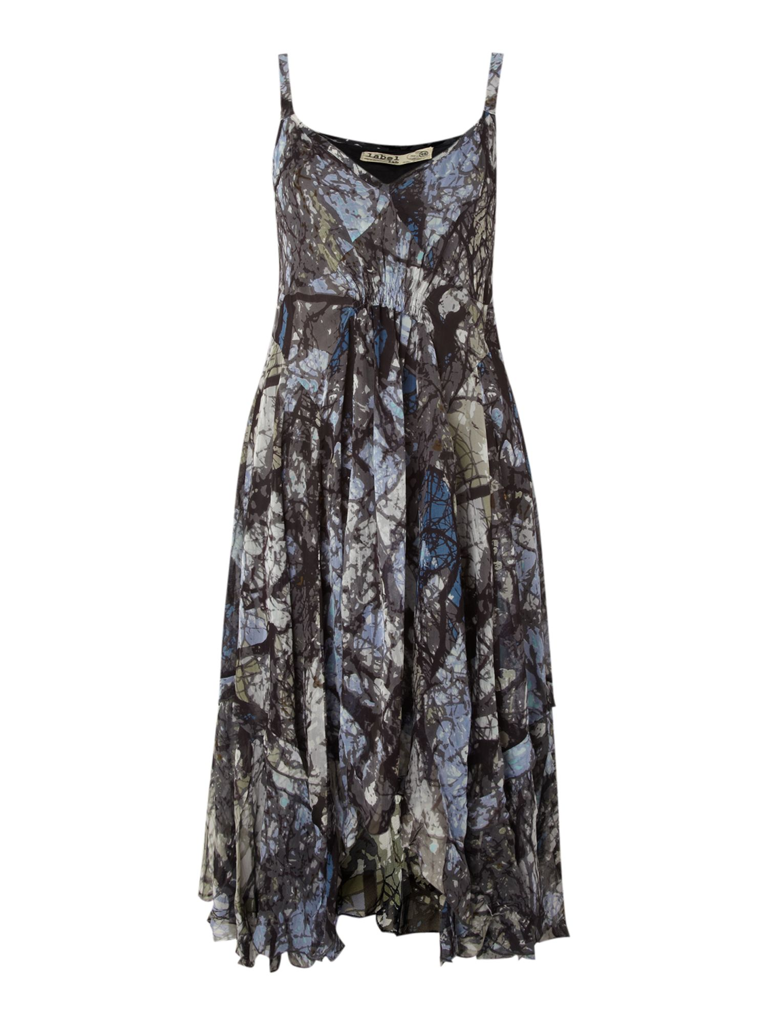 Tree print swing panel dress