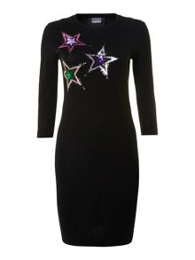 Long sleeve knitted sequin star dress