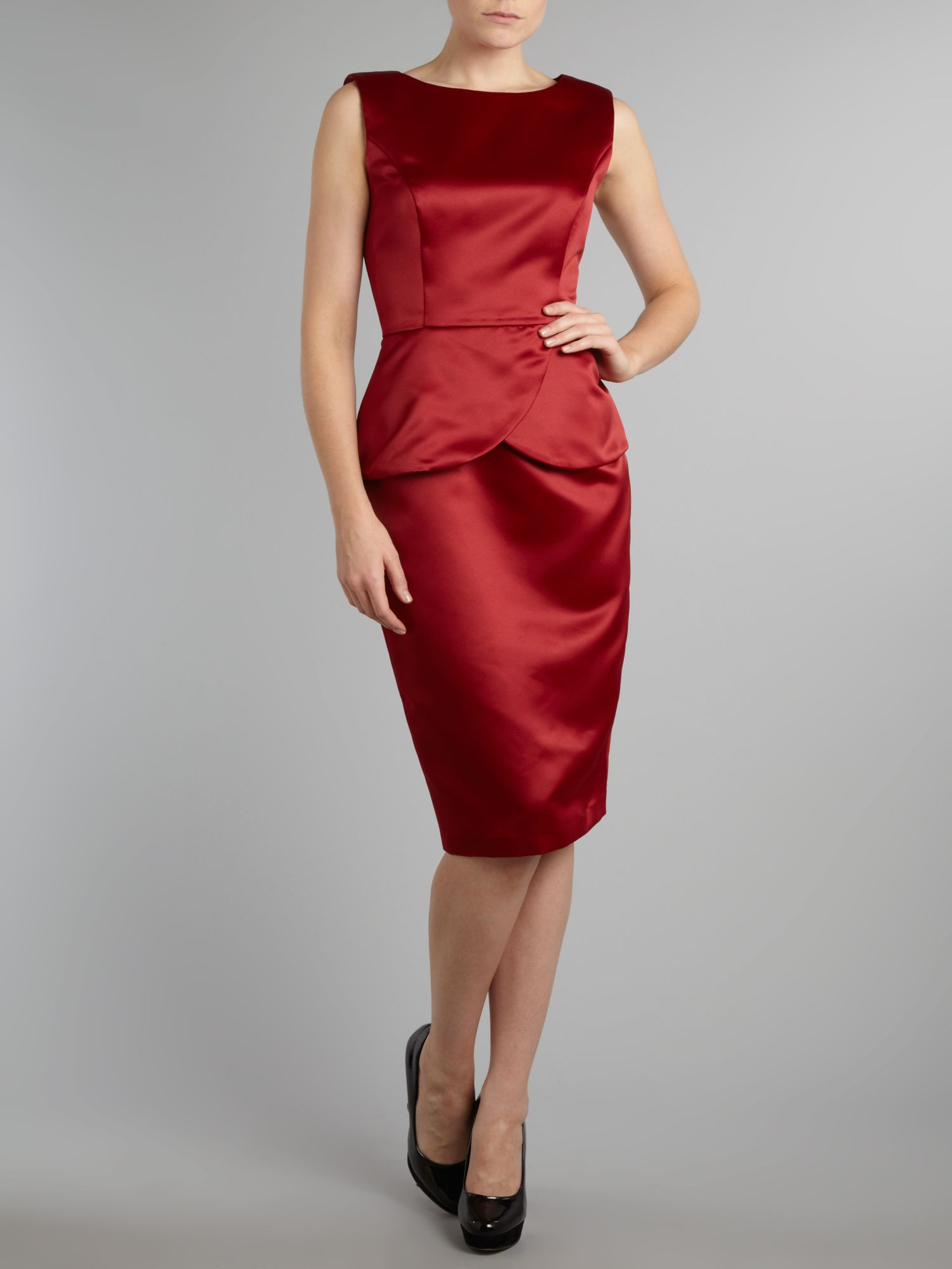 Peplum detail satin dress