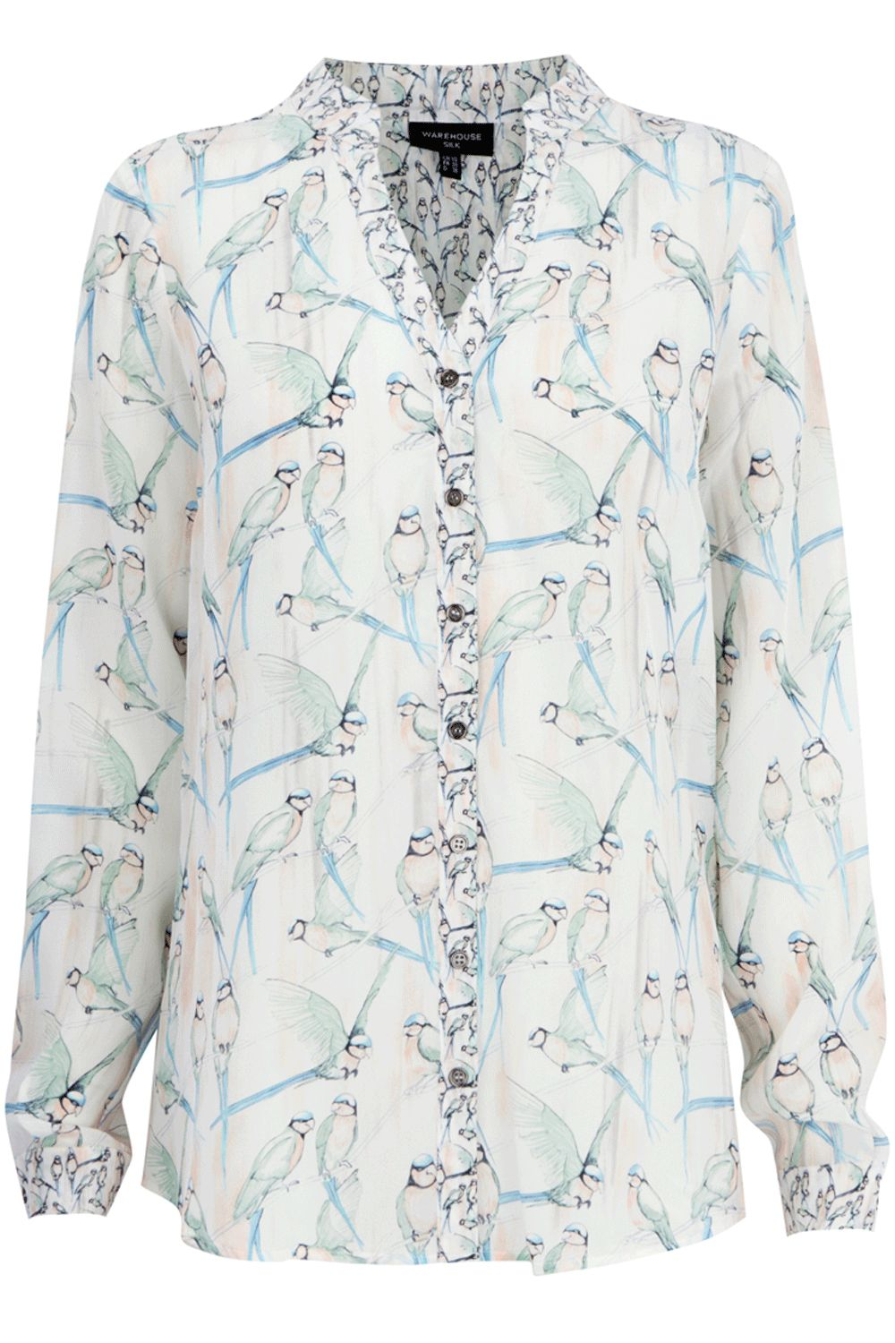 Womens Warehouse Love birds print blouse,