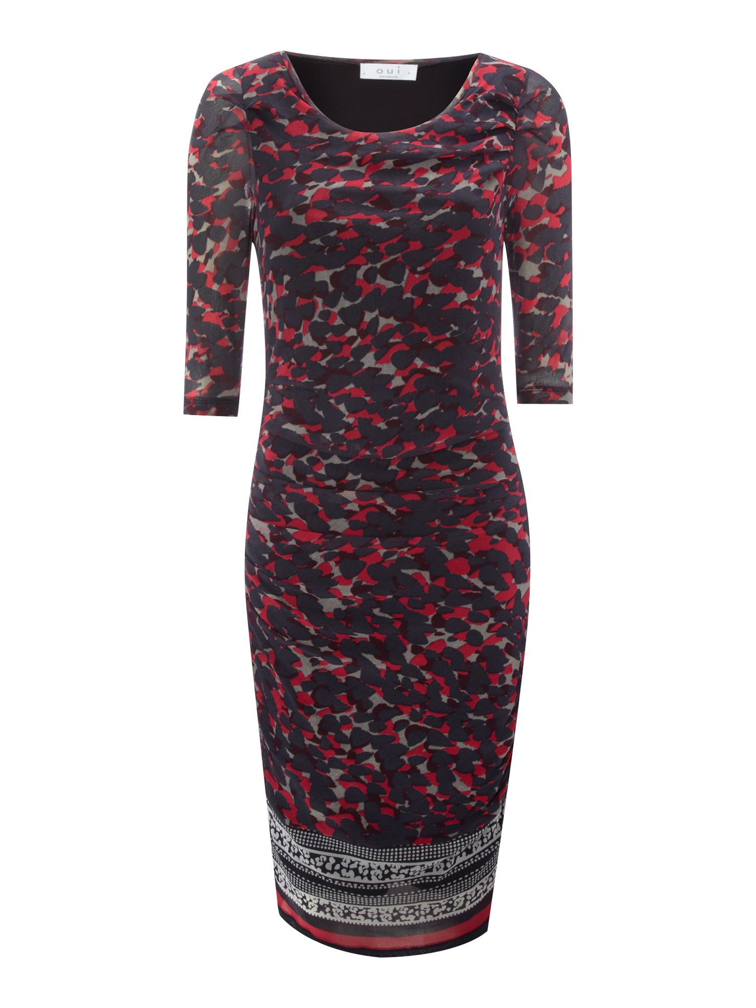 Ruched print dress