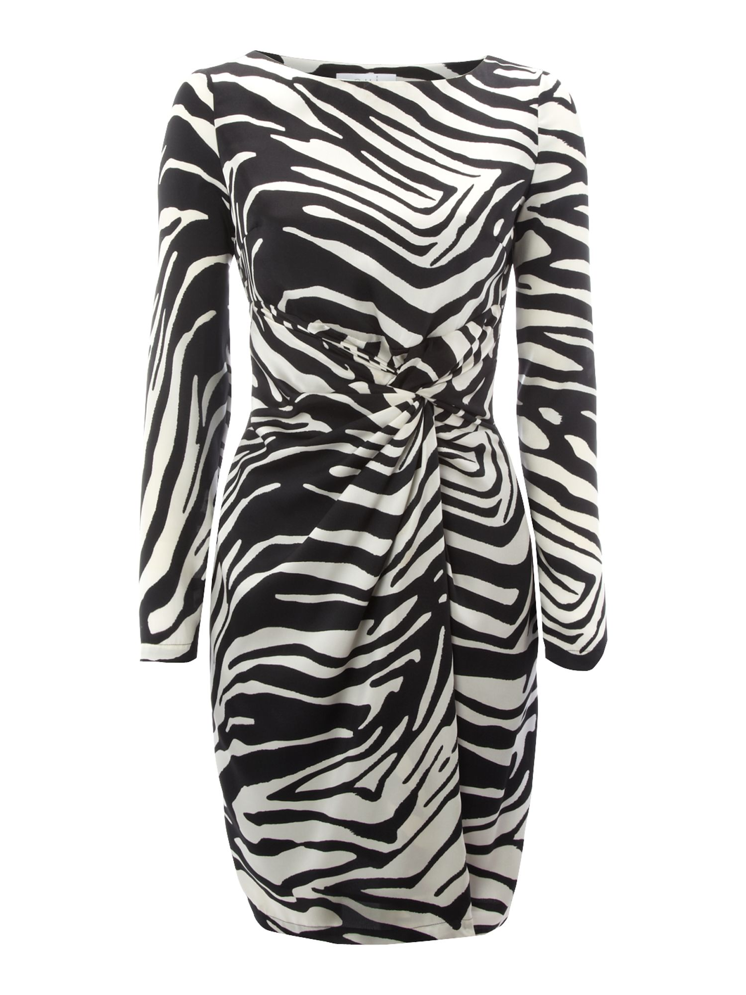 Zebra print ruched waist dress