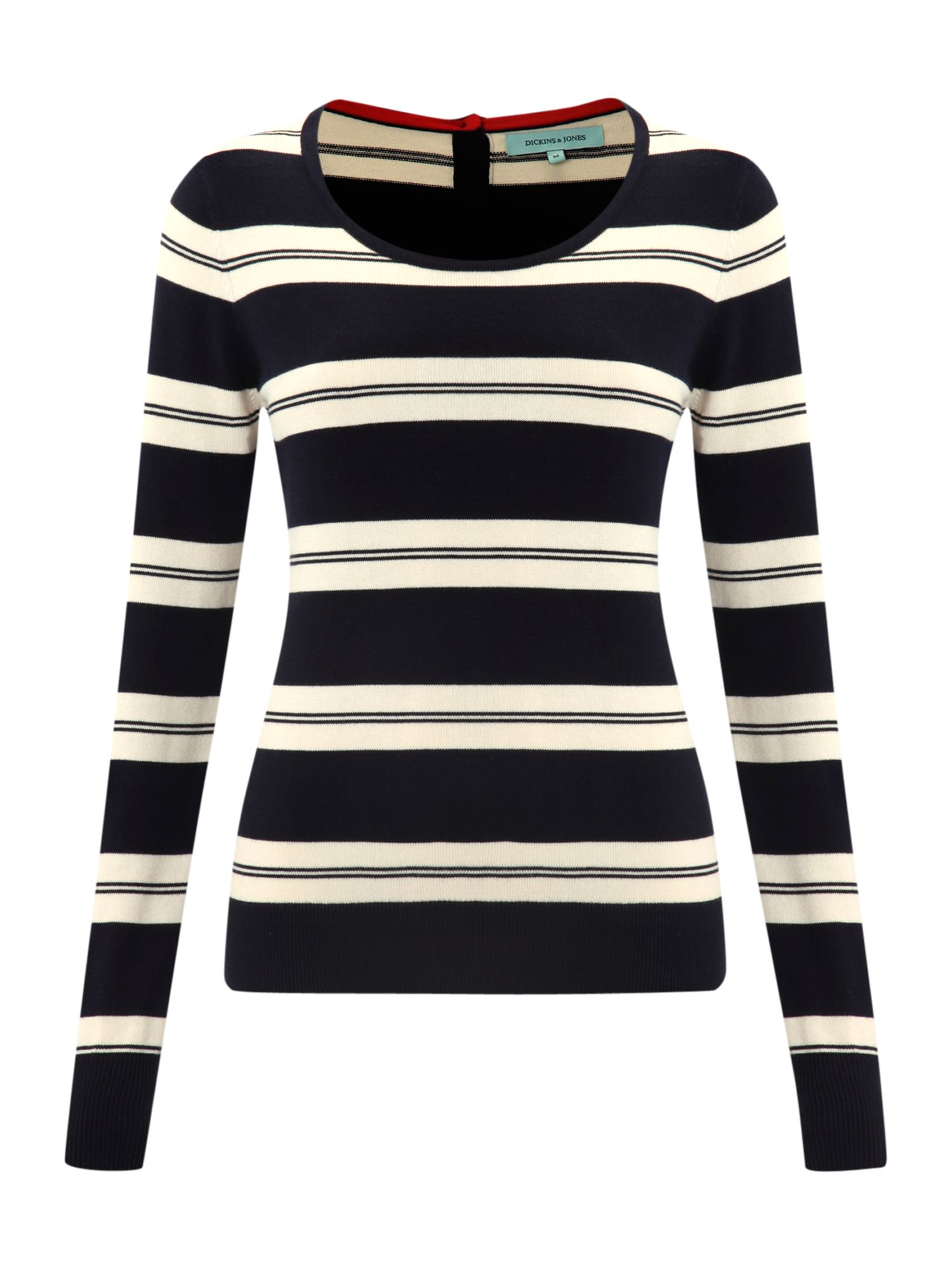 Ladies Striped Crew Neck Knit Jumper