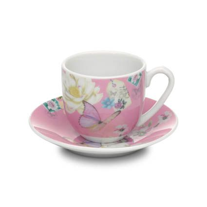 With Love espresso cup & saucer pink