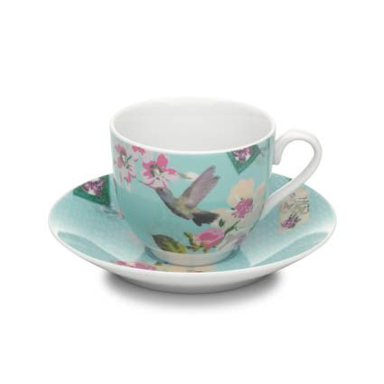 With Love cup & saucer blue