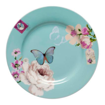 With Love cake plate blue
