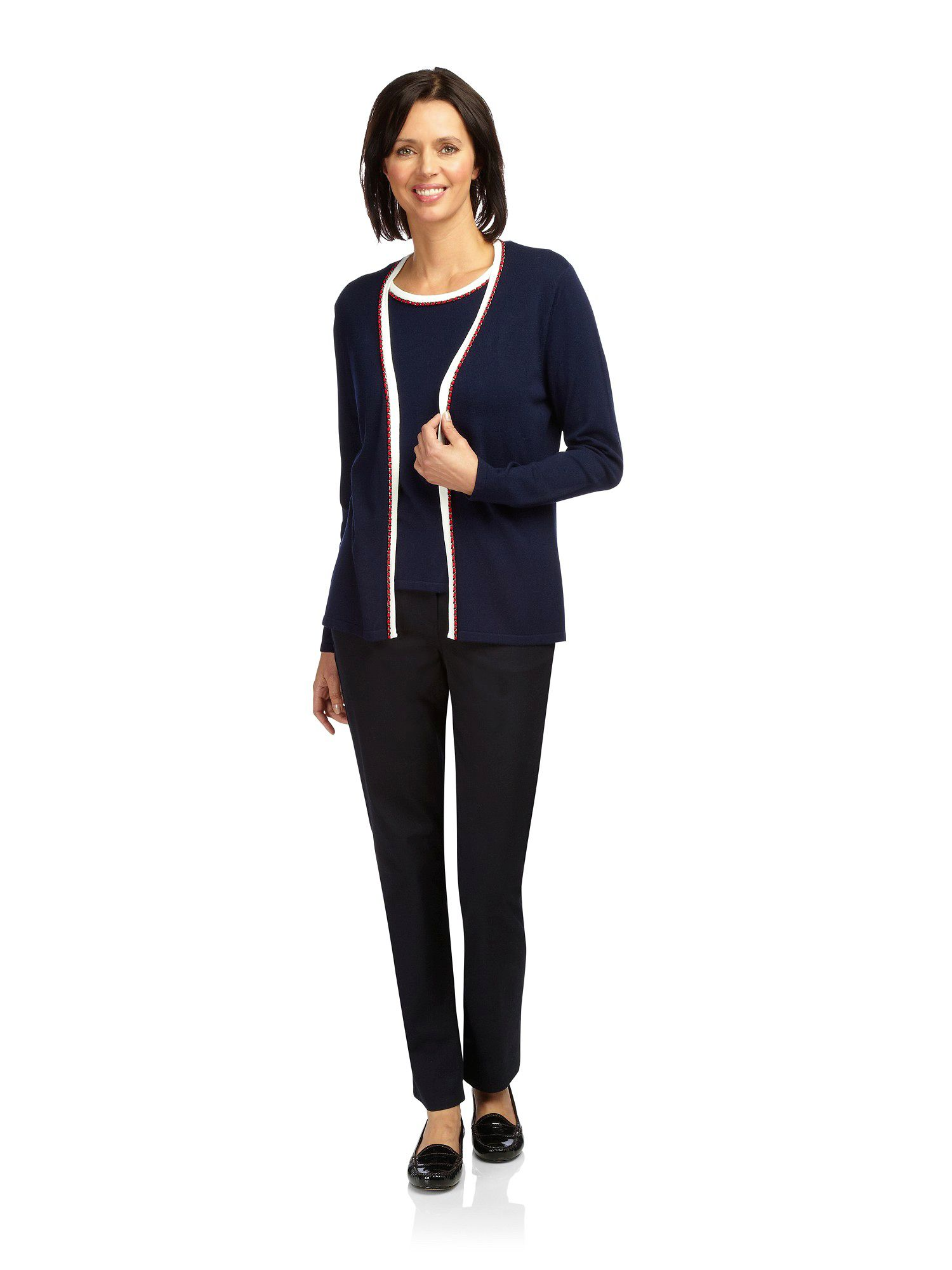 Navy chain trim cardigan