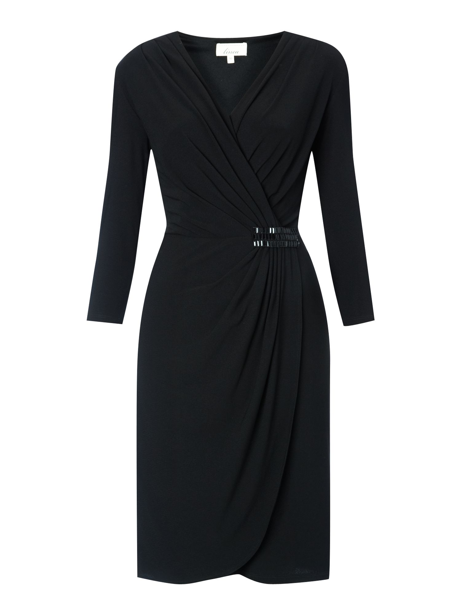 Trim crepe wrap dress