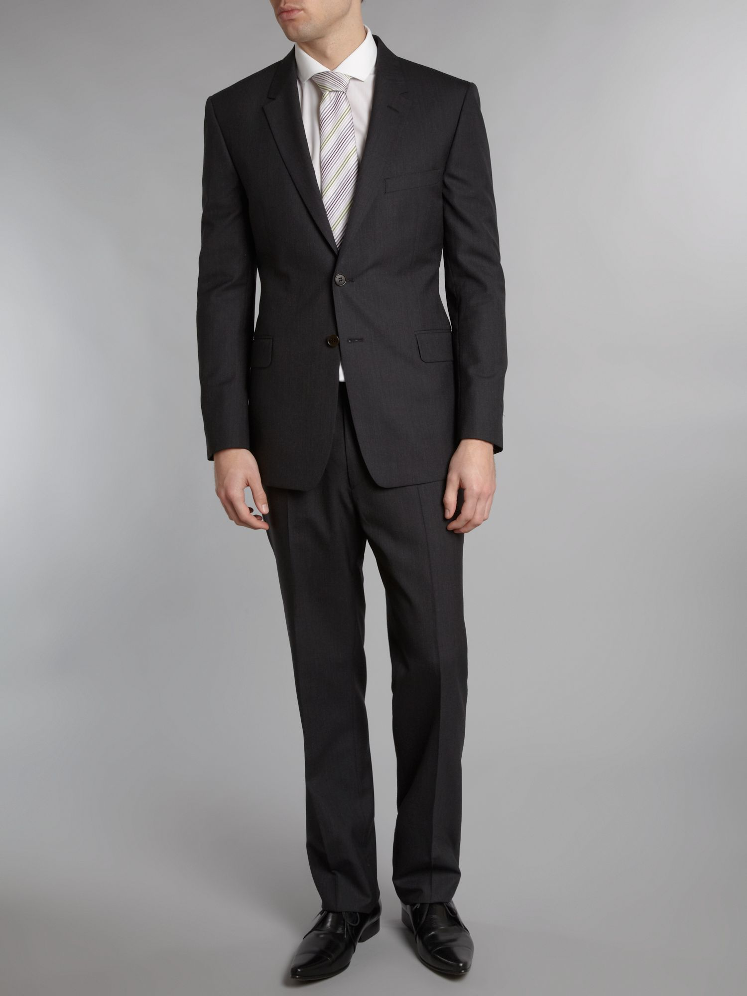 Floral slim fit plain wool suit