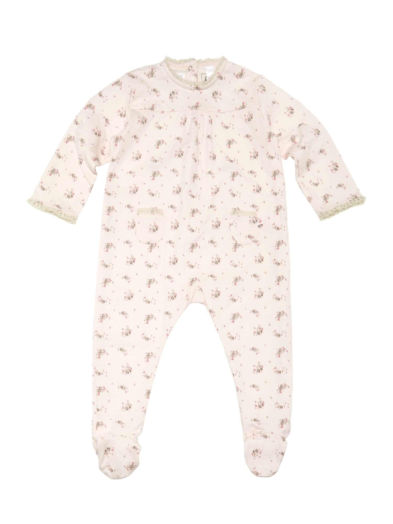Baby girl back opening sleepsuit