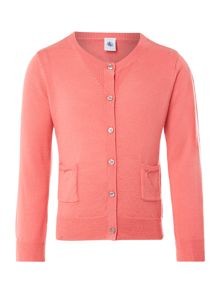 Girl`s wool and cotton knit cardigan