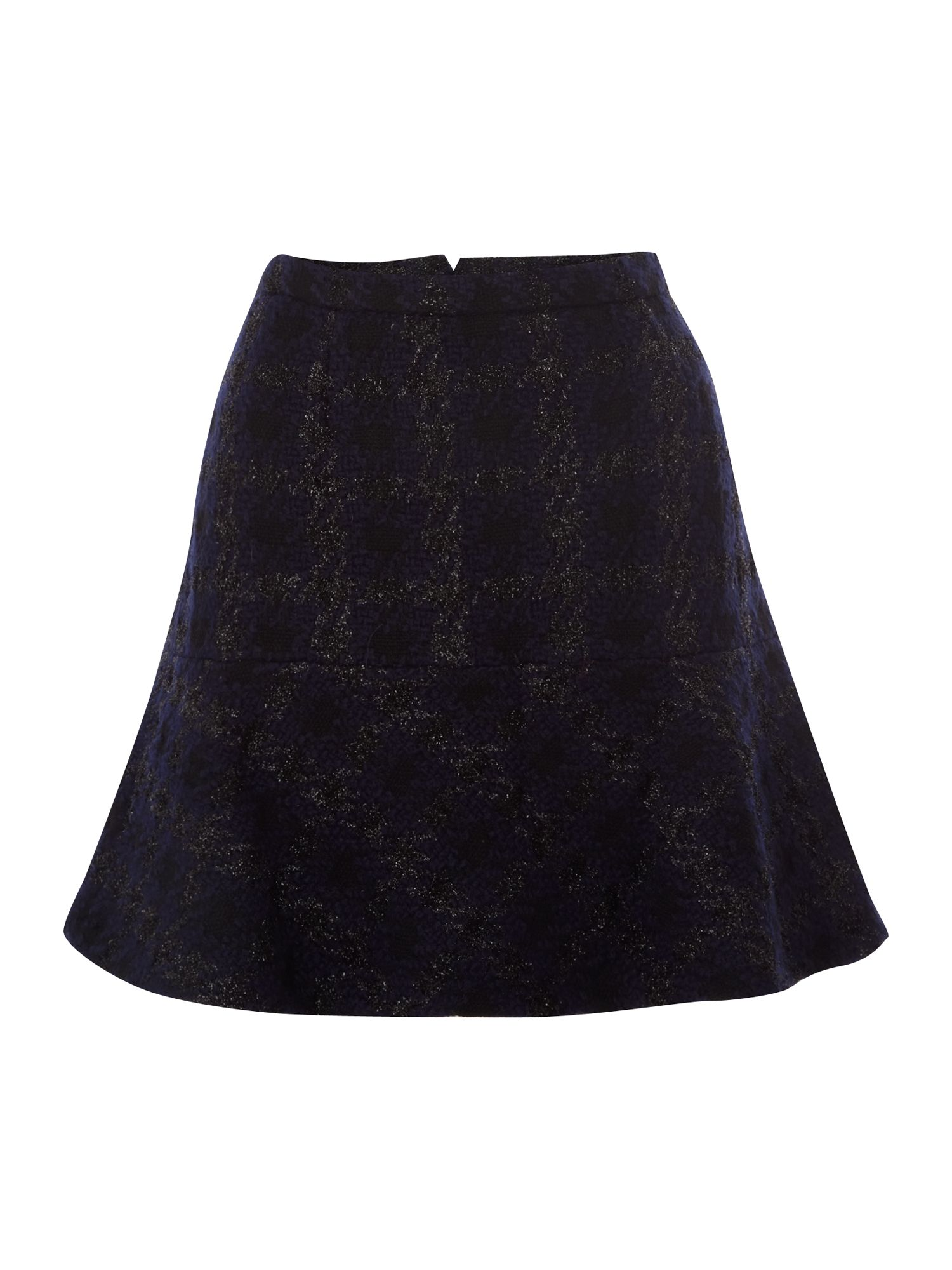 Kenneth Cole Houndstooth Short Flared Skirt, Midnight