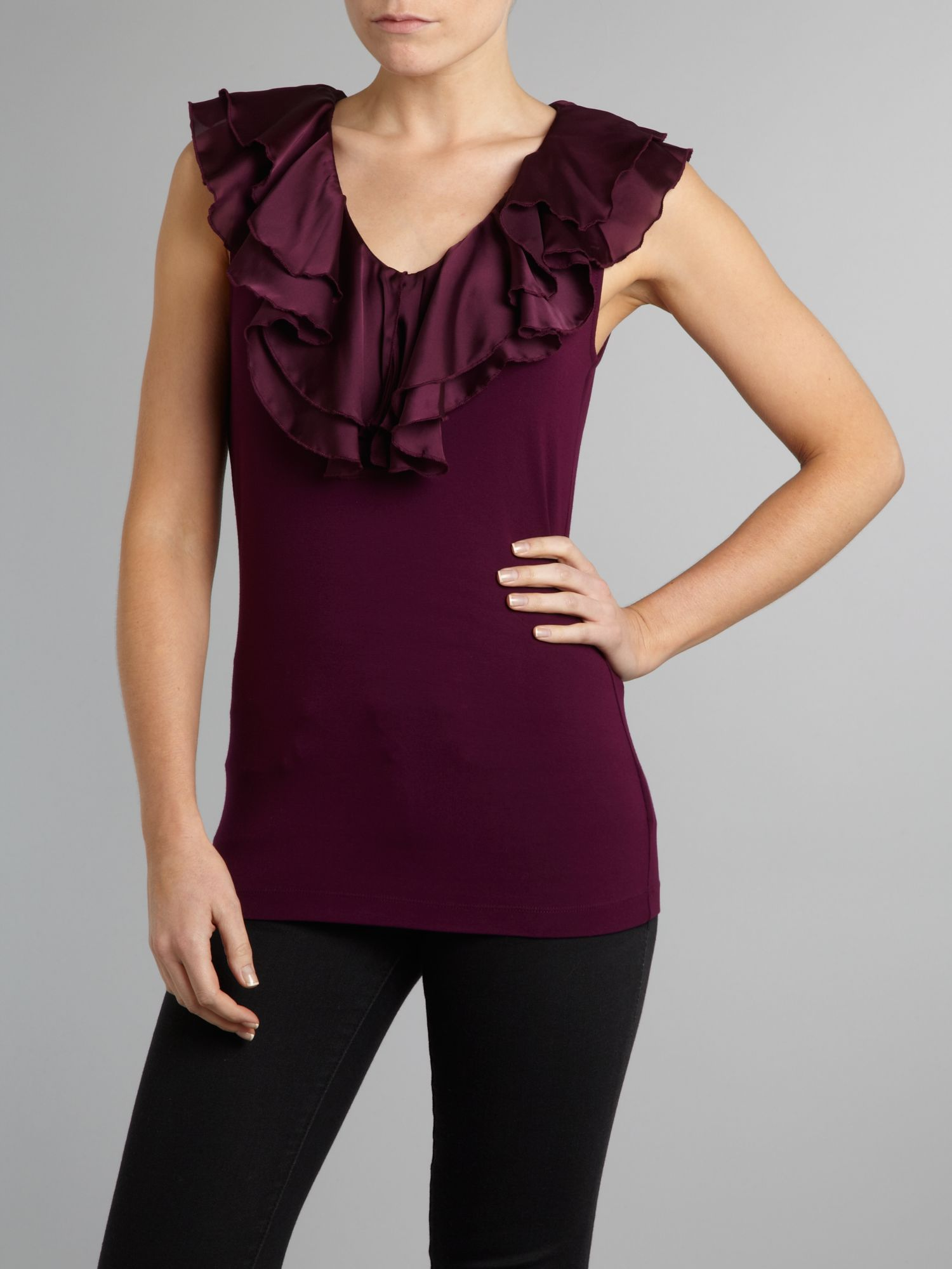 Alize sleeveless ruffle neck top