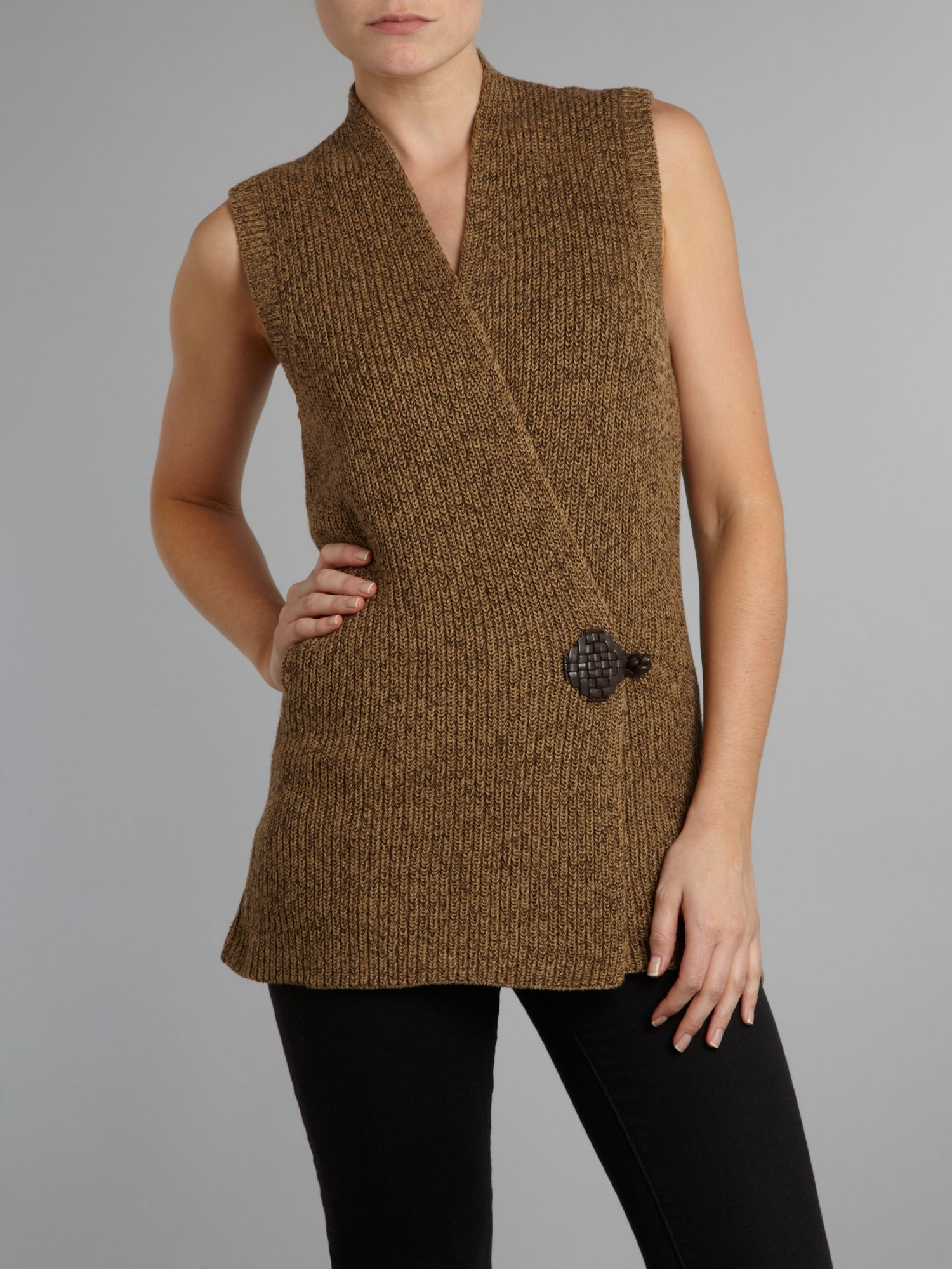 Antonin knitted vest with leather toggle