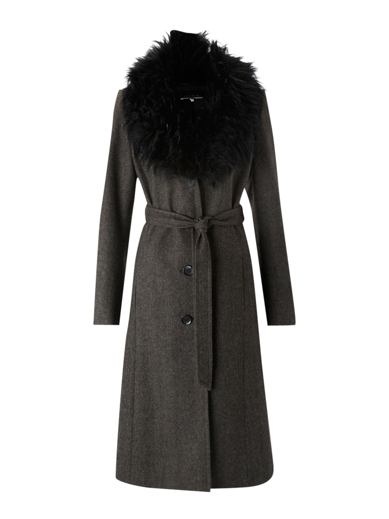 Longline faux fur collar coat