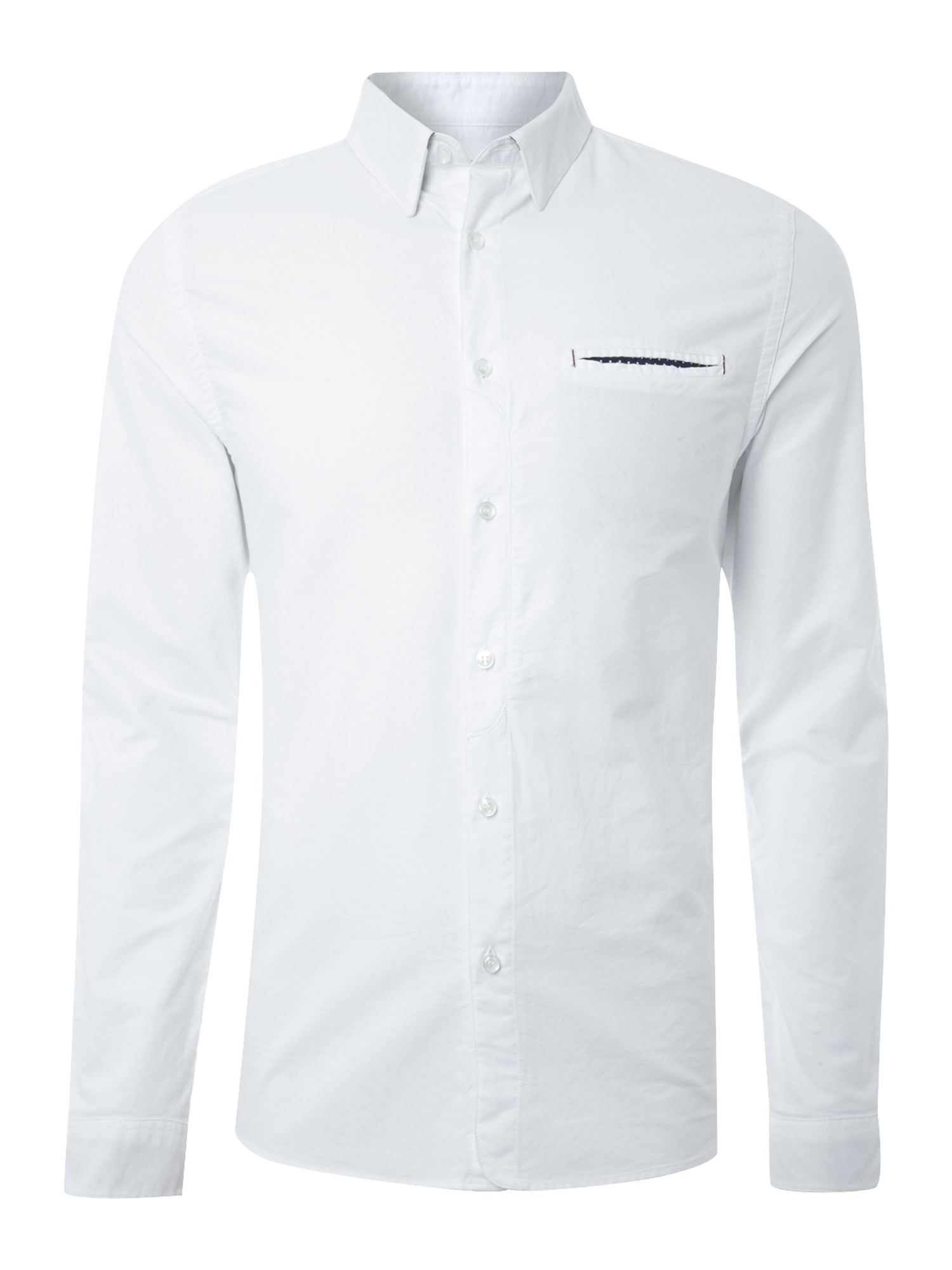 Plain hanky pocket long sleeve shirt